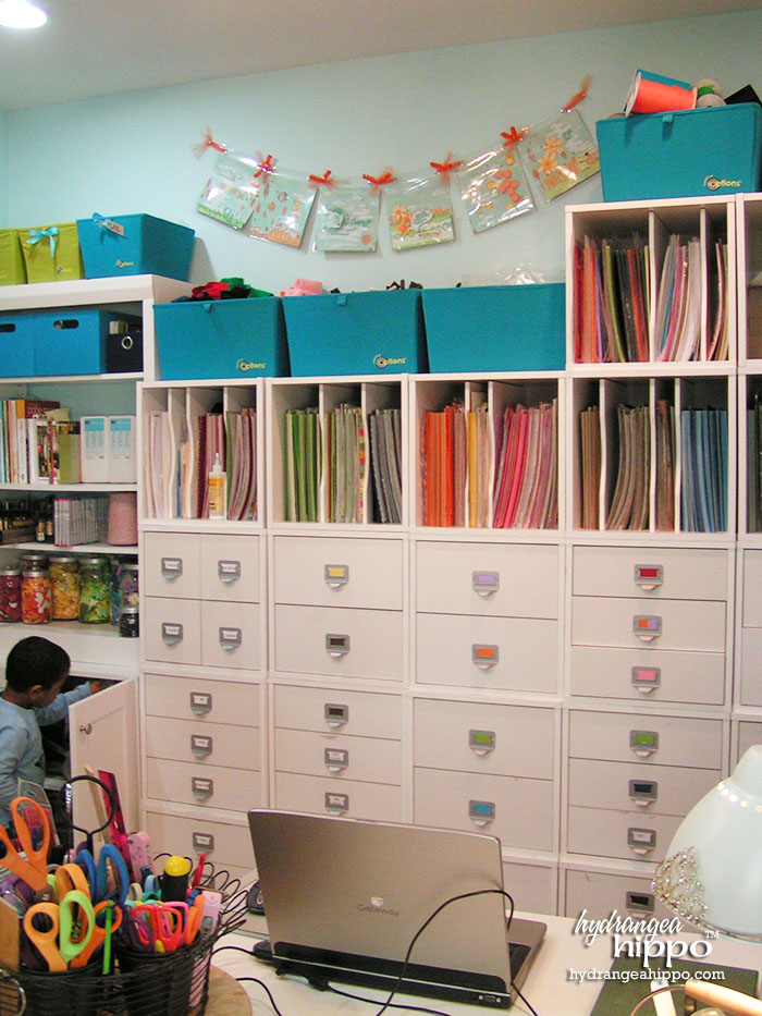Crop In Style Store In Style Cubes Scrapbook Storage in Jennifer Priest's Scrapbook Room.