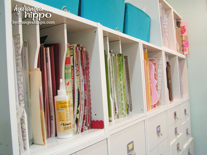 How to Store Paper by Color in Jennifer Priest's Scrapbook Room.