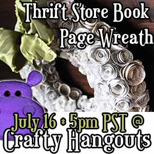 CraftyHangouts-Jennifer-Priest-Hydrangea-Hippo-ThriftStore-BookPageWreath-July2013