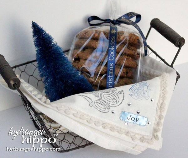 Joy-Peace-Tea-Towel-Cookie-Basket-Hydrangea-Hippo-Handmade-Holidays