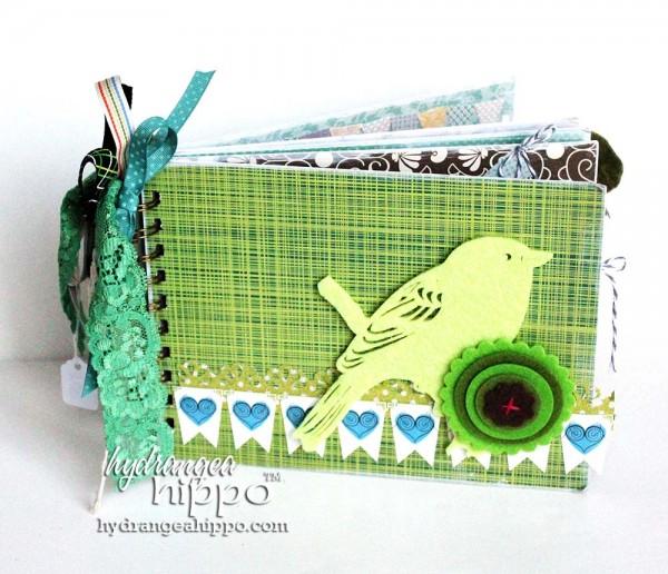 Green-Bird-Potlandia-Put-a-Bird-On-It-Mini-book-scrapbook-hydrangea-hippo-completed-gift-christmas-girl