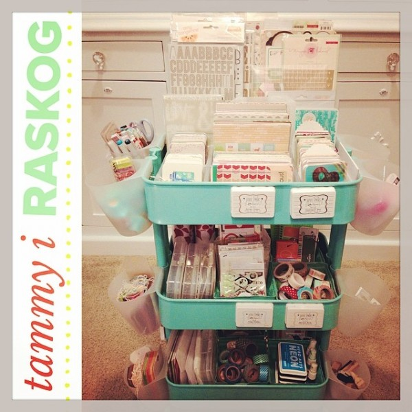 The BEST Ikea Craft Rooms Organizing Ideas - this RASKOG cart from Ikea is a perfect example of how to use RASKOG for crafts - Project Life. See more in this post by craft expert Jennifer Priest. #ikeacraftrooms #craftroom #craftrooms #ebook #crafting #craftspace #craftsposure