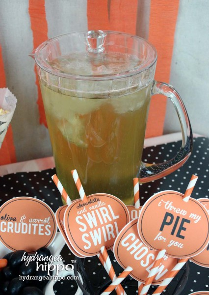 OITNB-Season-2-Party-Jennifer-Priest-Hydrangea-Hippo-TEA - Those cool straw toppers were made with fun orange straws & printables from Hydrangea Hippo blog.