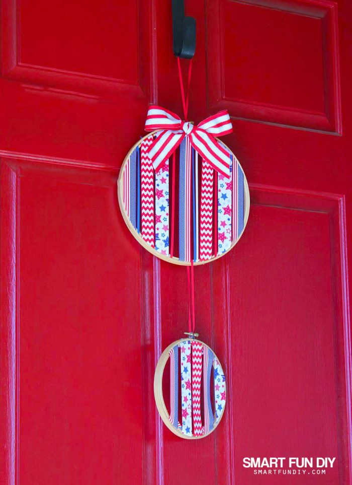 How to make patriotic hoop art for 4th of July or any holiday using ribbon and embroidery hoops. No sewing needed!! Use up your ribbon stash PLUS ideas for how to make these for other holidays