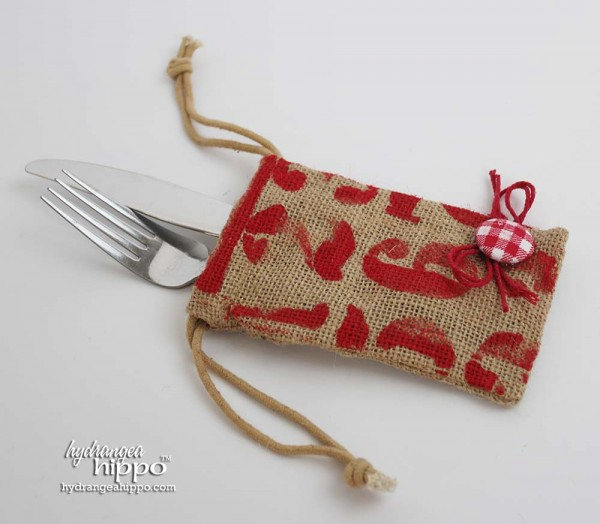 BurlapFabric - DIY Cutlery Bag - Jennifer Priest Hydrangea Hippo