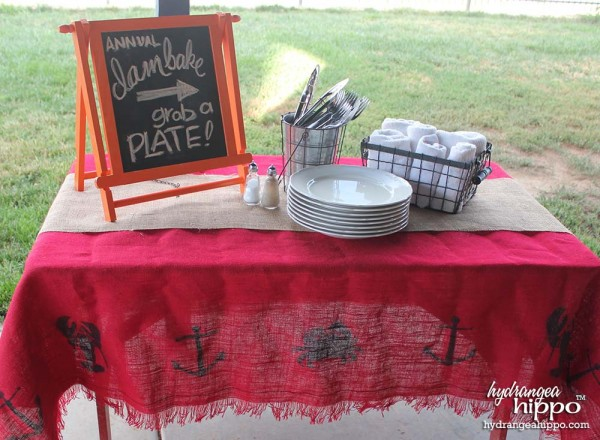 BurlapFabric - DIY Summer Burlap Table Cloth - Cape Cod - Jennifer Priest Hydrangea Hippo - 2