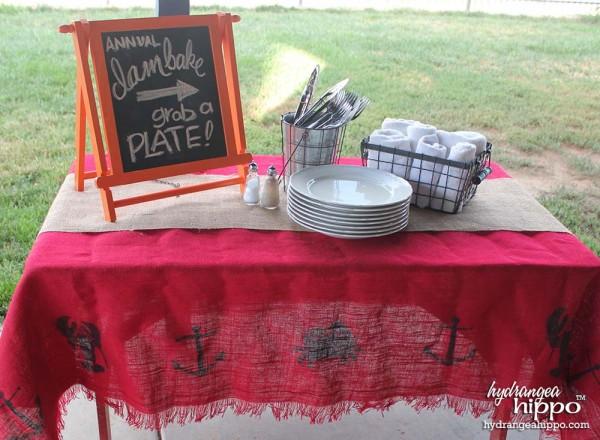 BurlapFabric - DIY Summer Burlap Table Cloth - Cape Cod - Jennifer Priest Hydrangea Hippo - 2