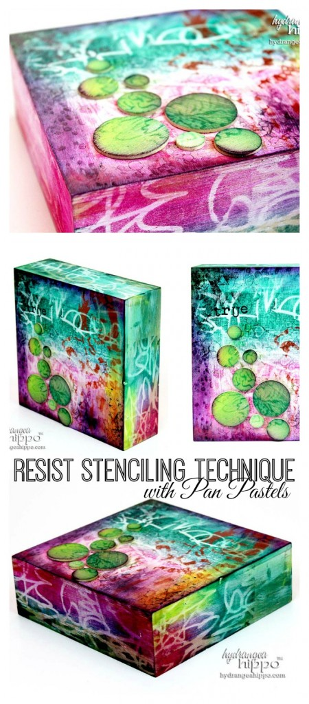 Resist Stenciling with Pan Pastels Collage