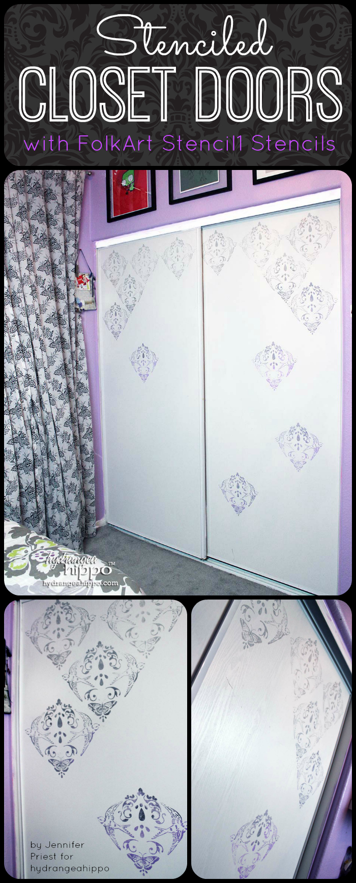 DIy Stenciled Closet Doors with FolkArt Stencil1 by Jennifer Priest