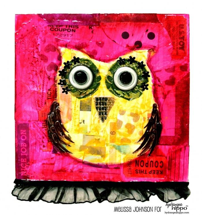 Owl Mixed Media Canvas - by Melissa Johnson for Hydrangea Hippo