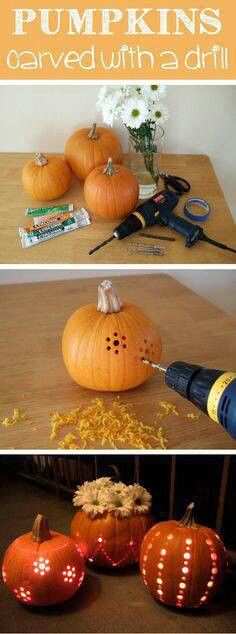 Carve a pumpkin with a drill