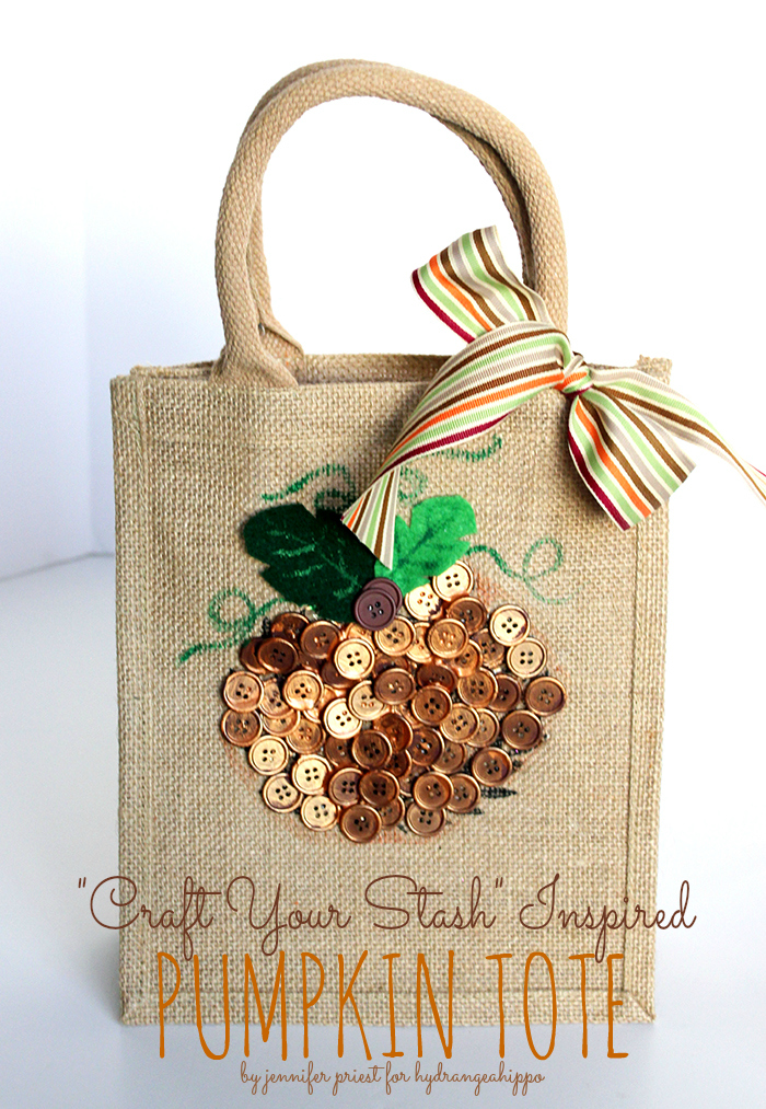 CraftYour Stash Fall Tote Bag Pumpkin Burlap by Jennifer Priest - title
