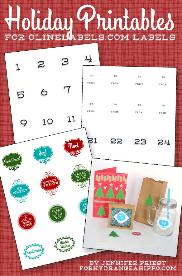 Holiday Printables for Labels by Jennifer Priest of hydrangeahippo