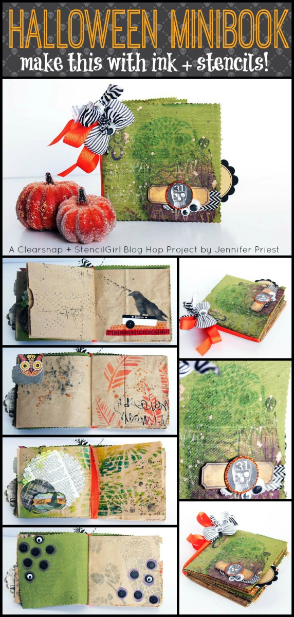 StencilGirl and Clearsnap Blog Hop - Halloween Book with Stencils and Ink by Jennifer Priest TITLE 2