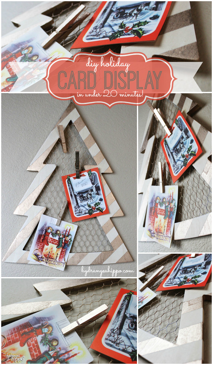 Christmas Card Display by Jennifer Priest of hydrangeahippo with Krylon Spray Paint COLLAGE