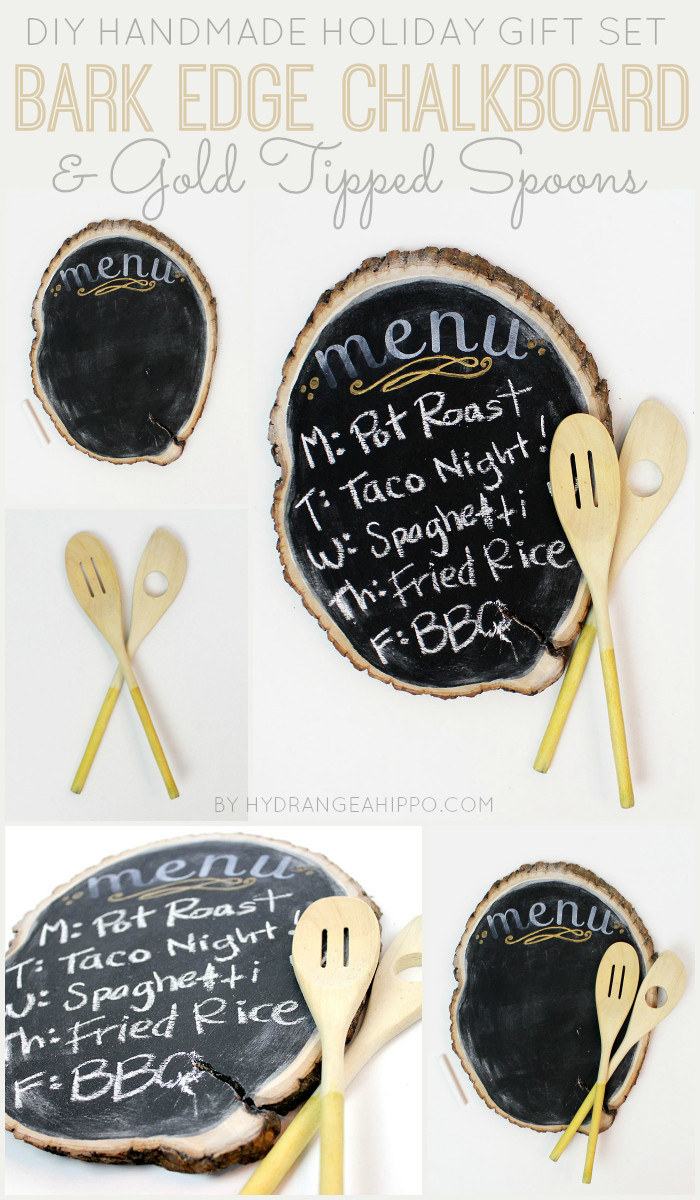 DIY Bark Edge Chalkboard and Gold Tipped Spoon Gift Set by Jennifer Priest for Hydrangea Hippo - Handmade Holidays 2014 COLLAGE