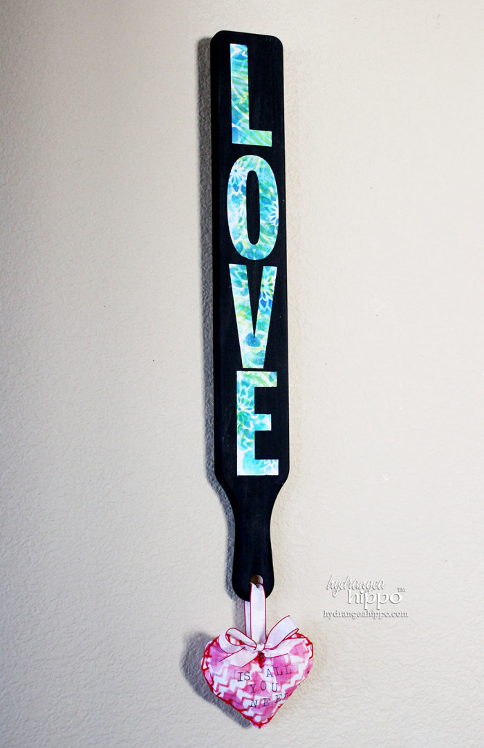 Love is all you need BISTRO Sign by Jennifer Priest for Hydrangeahippo Handmade Holidays Blog Hop 2014