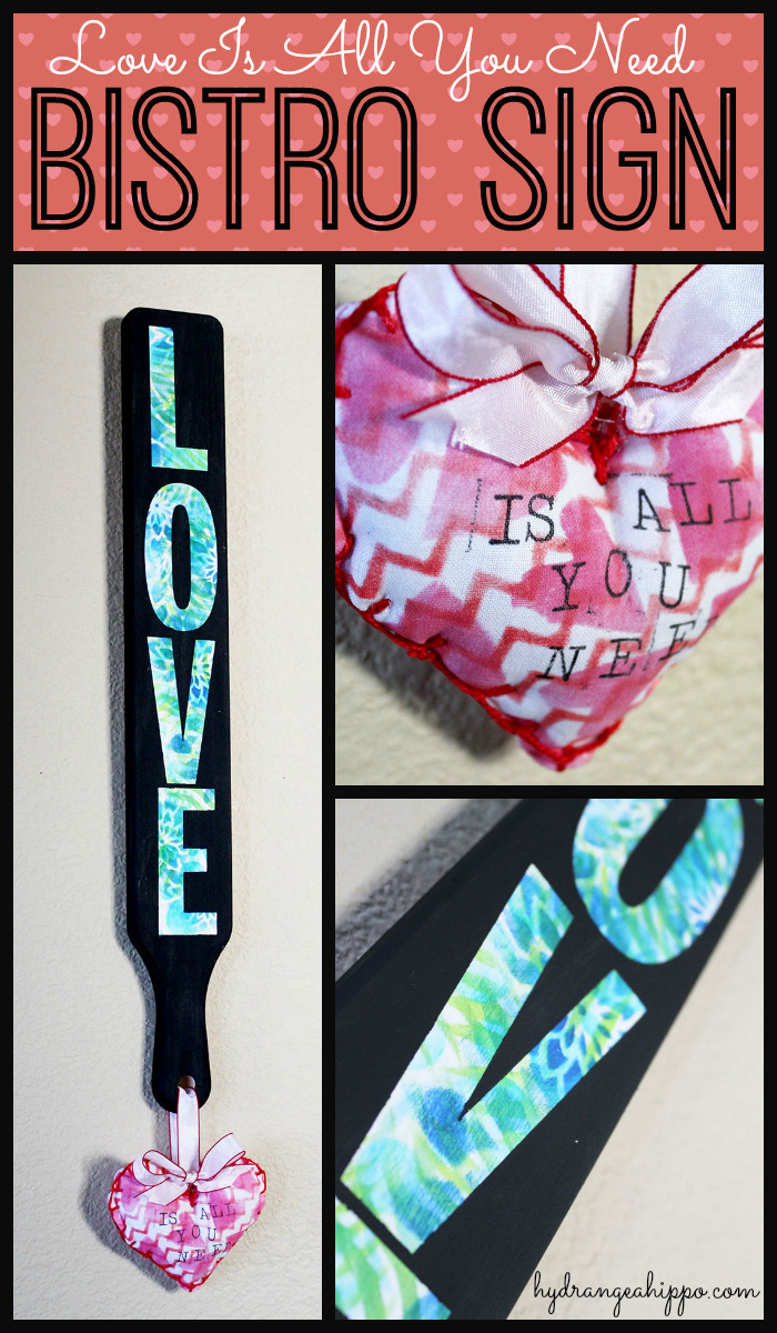 Love is all you need Wood BISTRO Sign by Jennifer Priest for Hydrangeahippo Handmade Holidays Blog Hop 2014 COLLAGE
