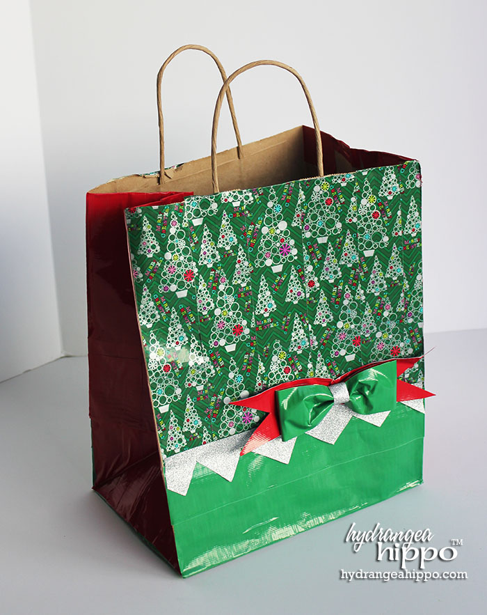 2014-12 Duck Tape Gift Bag with Christmas Tree by Jennifer Priest of hydrangeahippo 3