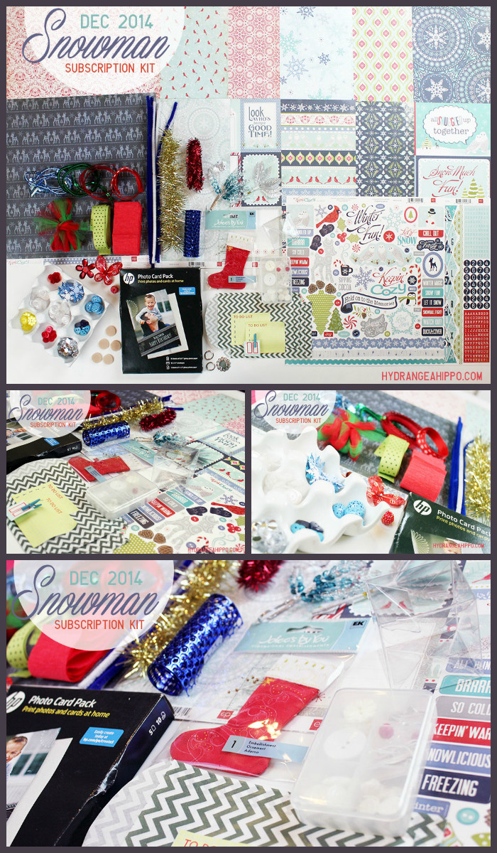 DEC 2014 - SNOWMAN Monthkly Kit Club by hydrangeahippo - COLLAGE