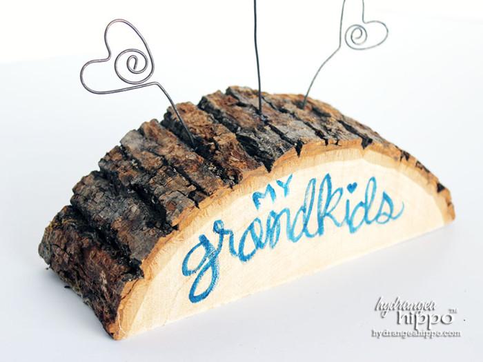 Grandkids Wood Slab Photo Display by Jennifer Priest of hydrangeahippo 2