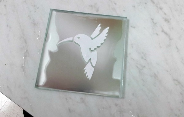 etched glass coaster