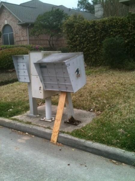 Source: Chron.com - these aren;t our mailboxes but they are really similar to the ones we have. Plus, this illustrates how easy they are to damage and steal from.