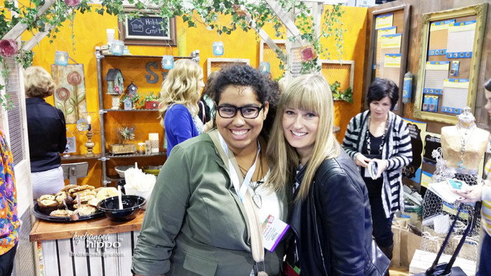 Katie and Wendy Russell in front of the MD Hobby Craft booth, which was like a metal wonderland!