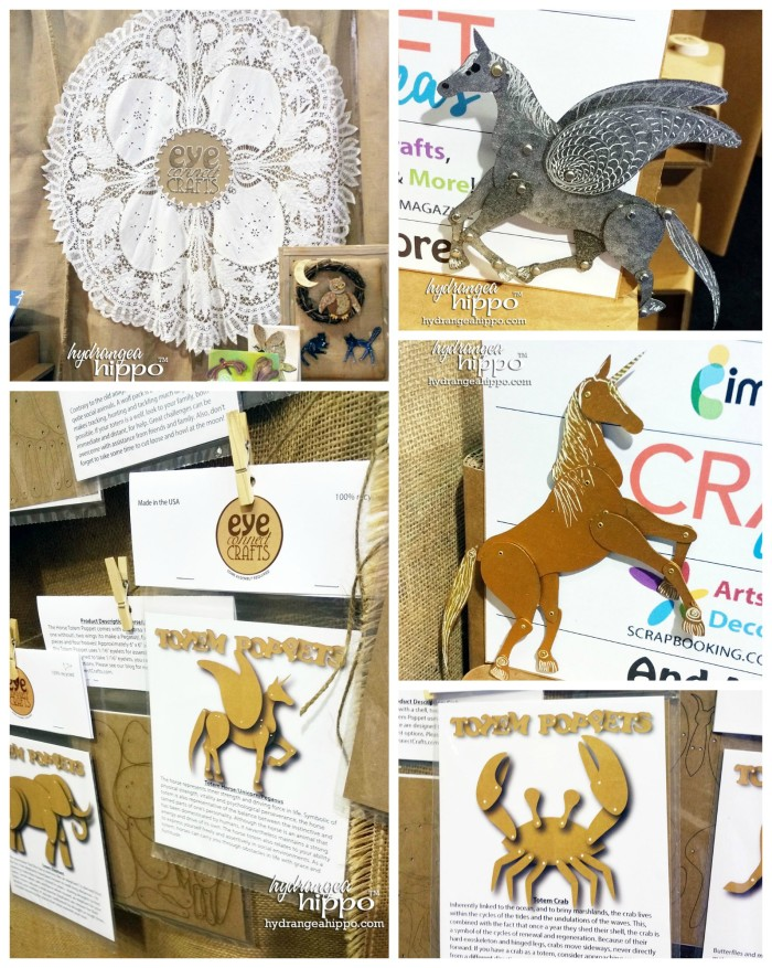 Eye Connect Crafts had jointed chipboard shapes but my favorite was the unicorn - pegasus. They had some great samples of it in their booth!