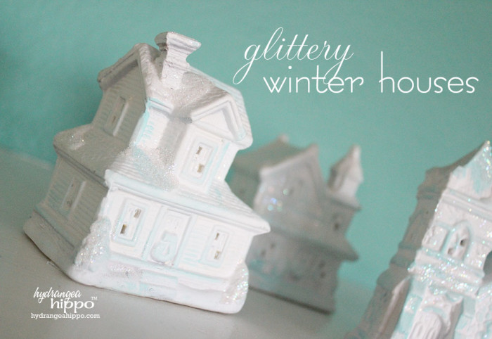 Create these glittery winter houses to display all tiner long - only $5 to make!