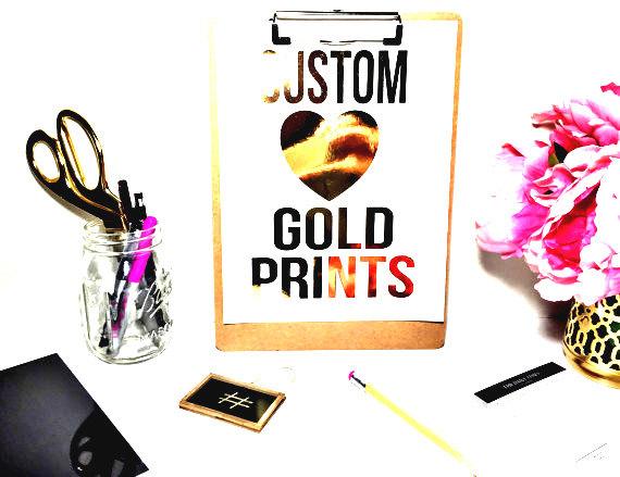 Gold Foil Prints Etsy