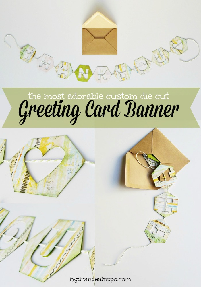 How To Make the most adorable Banner For A Card - Jennifer Priest of hydrangeahippo COLLAGE