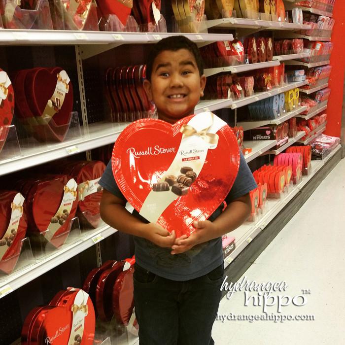 Matt with Box of Chocolates at Target - Jennifer Priest Hydrangeahippo