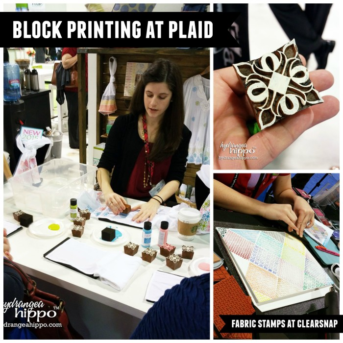 Plaid had resin block printing stamps at CHA and Clearsnap had foam fabric printing stamps.