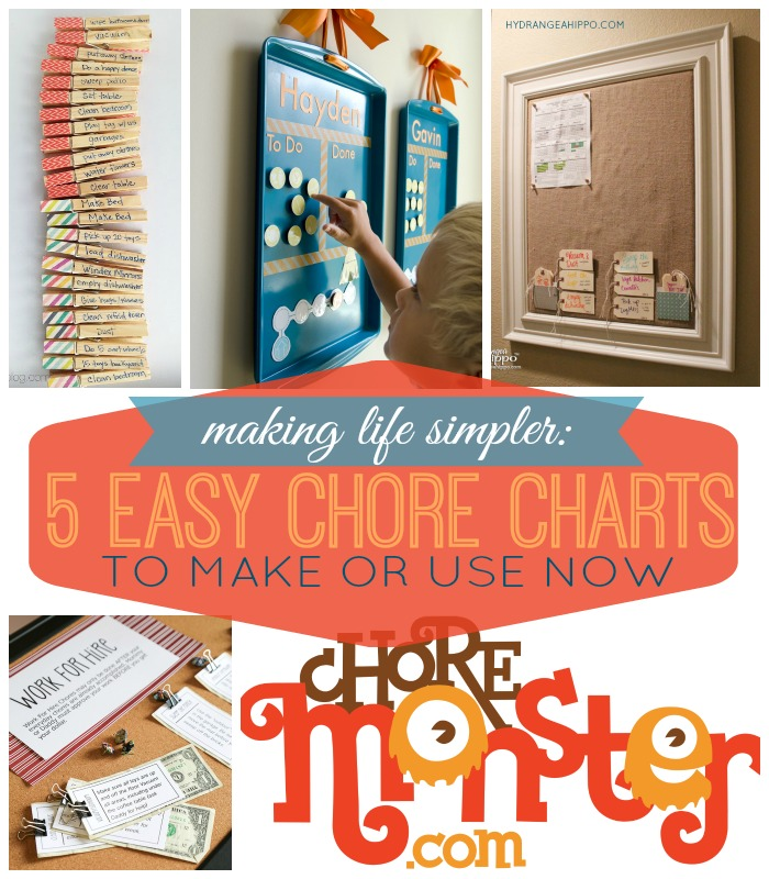 5 Easy Chore Charts to Make or Use - hydrangeahippo collage