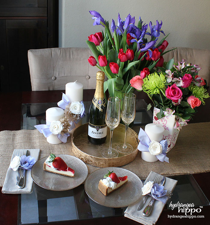 Create a romantic dessert roses and champagne setting for Valentines Day with ProFlowers