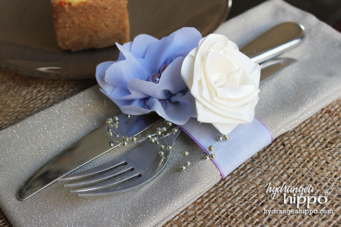 "The key to these napkins rings is this gorgeous 1.5"" wide Offray ribbon- I created the flowers and the wrap band from it!"