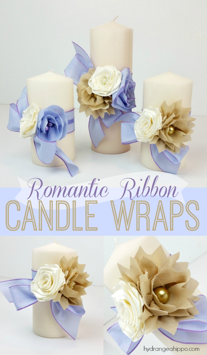 Create these removable romantic ribbon candle wraps for a date night in, wedding decor, party, or even as decor for a pretty room in your home.
