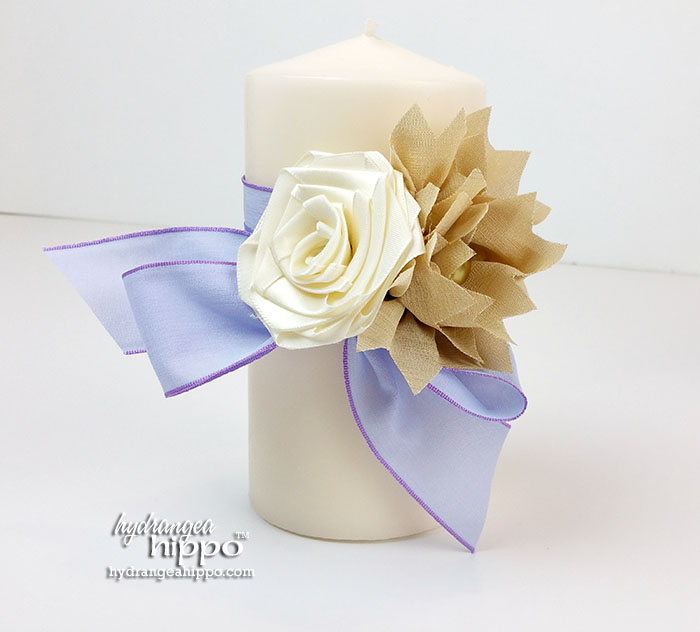 Handmade Candle Wrap from Ribbon - WEDDING - by Jennifer Priest