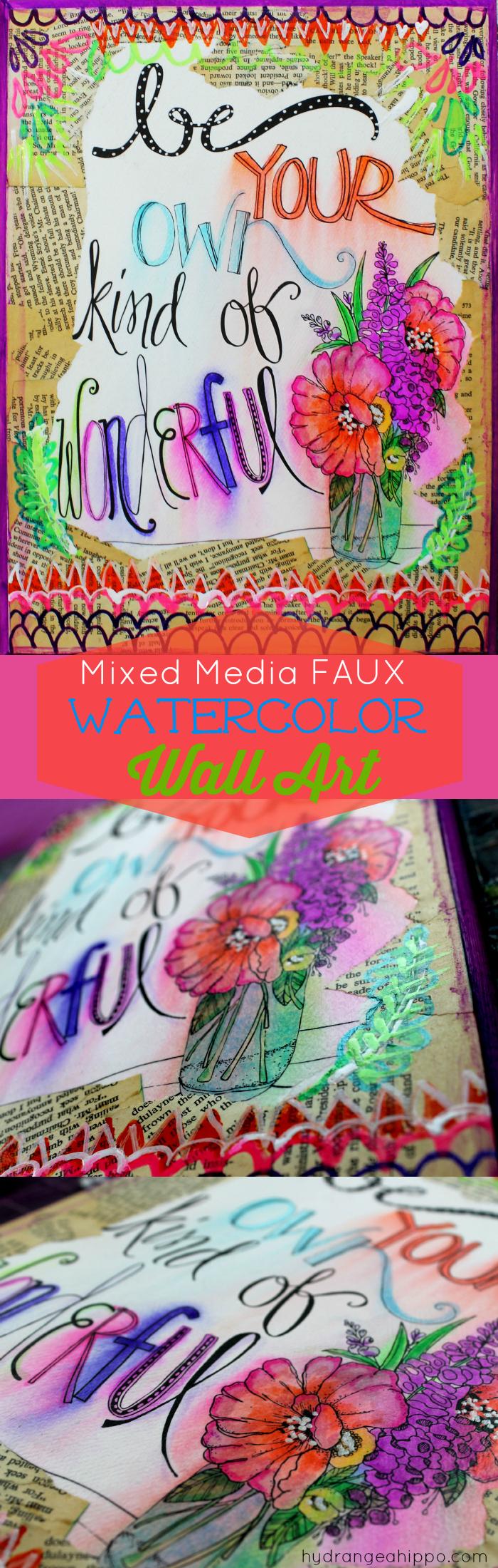 Mixed Media Faux Watercolor Wall Art by Jennifer Priest