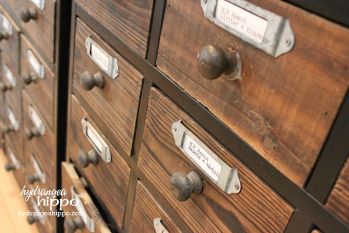 Craft Room Tour 2015 - Smart Fun DIY. Card Catalog Storage - Scrapbook Room Tour JPriest - Label your storage drawers with the Epson LabelWorks Printable Ribbon Kit!
