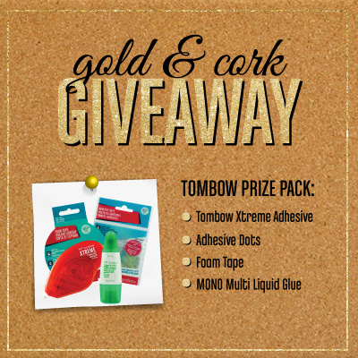 Tombow Blog Hop Giveaway - Cork and Gold