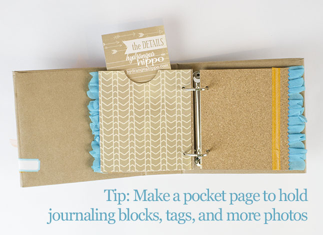 Make a Pocket Page for Journaling Blocks, extra Photos, and tags in your mini scrapbook albums