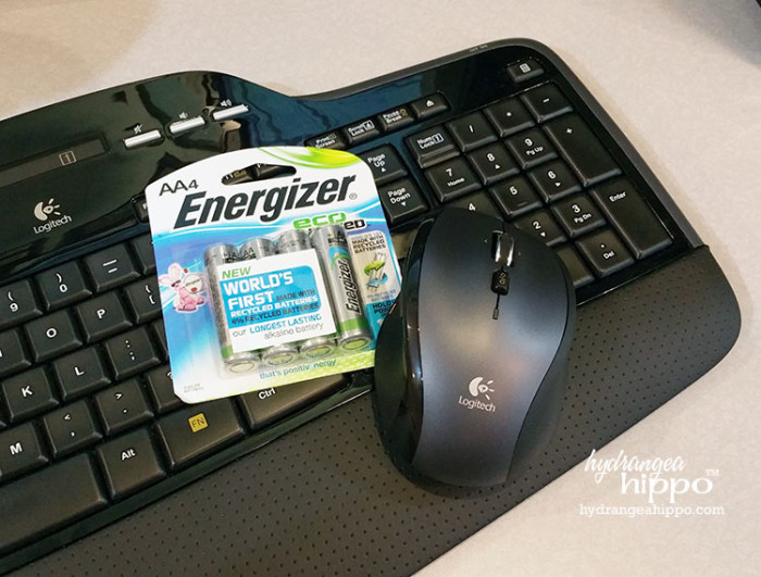 NEW Energizer EcoAdvanced batteries keep the wireless keyboard and mouse powered up.