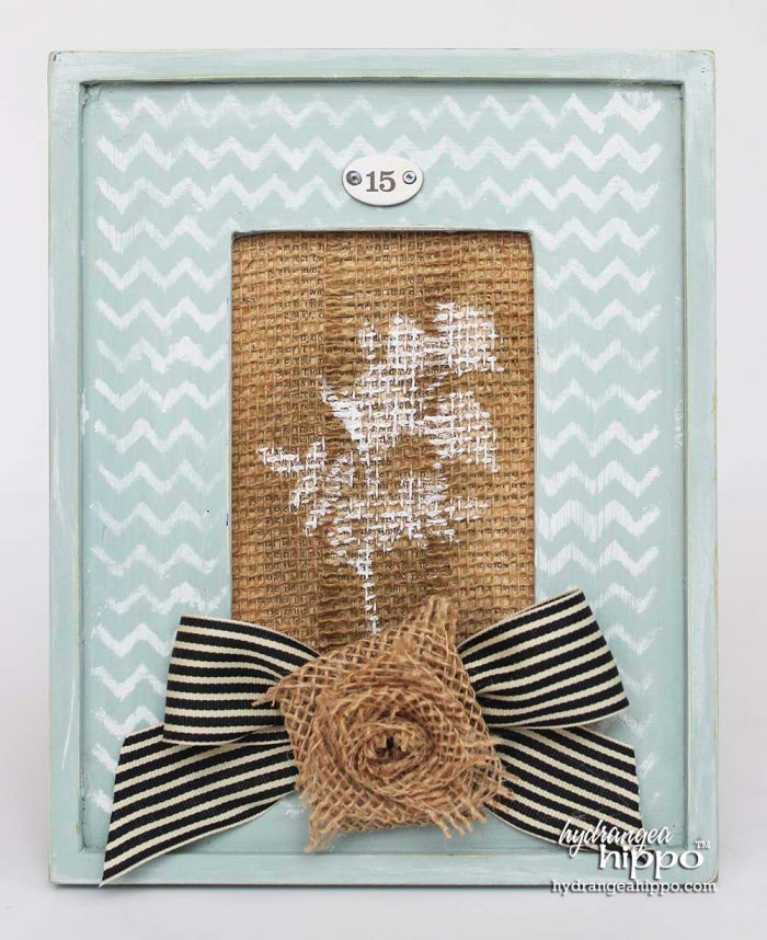 BurlapFabric - DIY - Home Decor Frame - Jennifer Priest Hydrangea Hippo