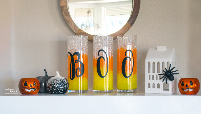 Halloween Mantle Decor - looks so good with GEMNIQUE Water Beads. See how to make this display for under $15! [AD]