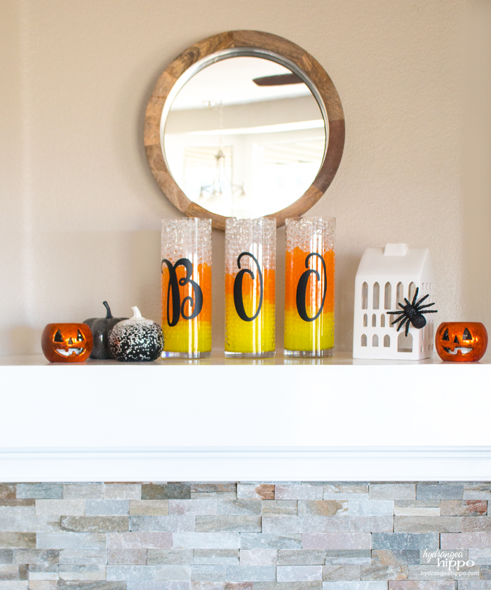 Candy Corn Vases! Halloween Decor is easy with GEMNIQUE Water Beads. Add typography vinyl letters for more of a trendy look. [AD]