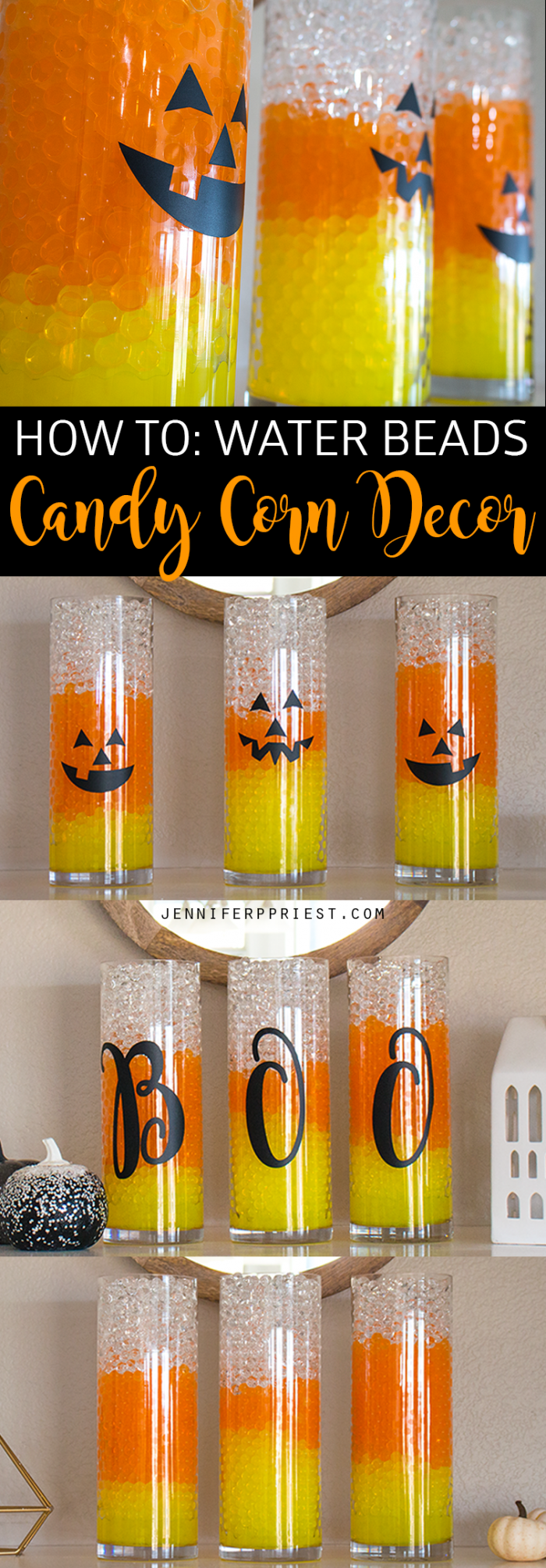 Candy Corn Vases! Halloween Decor is easy with GEMNIQUE Water Beads. See how to make this display for under $15! [AD]